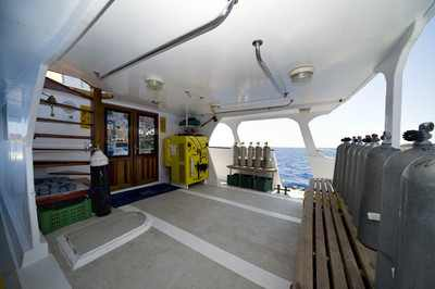 Dive Deck on King Snefro 3 Liveaboad Diving Motor Yacht in Sharm el Sheikh Egypt