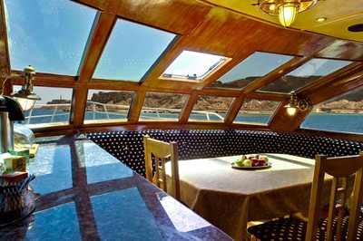 Dining area on King Snefro 6 Liveaboad Diving Motor Yacht in Sharm el Sheikh Egypt