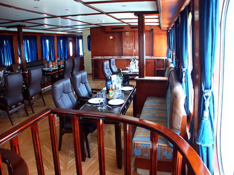 Dining area on M/Y Spirit Liveaboad Diving Motor Yacht in Sharm el Sheikh Egypt
